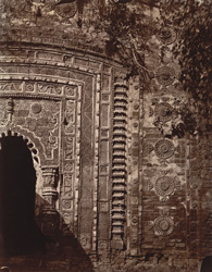 Close view of sculptured façade around the doorway of the temple known as the Radharaman Temple, Para, Manbhum